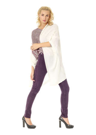 provocative woman: Portrait of young beautiful blonde in white cardigan