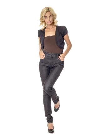 Beautiful woman in black bolero coat with curly blonde hair