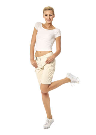 waistline: Beautiful sexual woman blonde pose in beige breeches