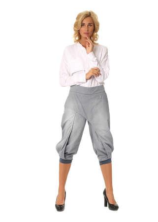 Beautiful sexual woman blonde pose in galife breeches