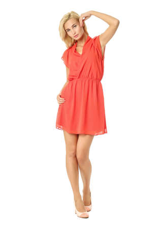 People of flirtatious woman in tunic red dress isolated