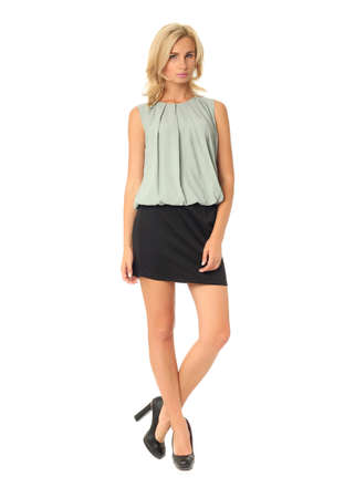 club dress: Full length of flirtatious woman in club dress isolated