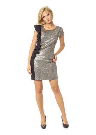 Portrait of flirtatious woman in disco dress isolated