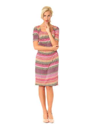 Full length of flirtatious woman in summer dress isolated