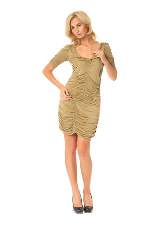 Full length of flirtatious woman in cocktail dress isolated