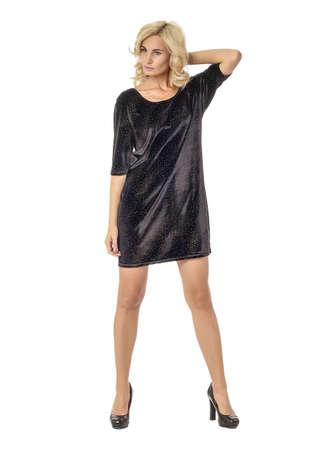 Portrait of flirtatious woman in short black dress isolated Stock Photo