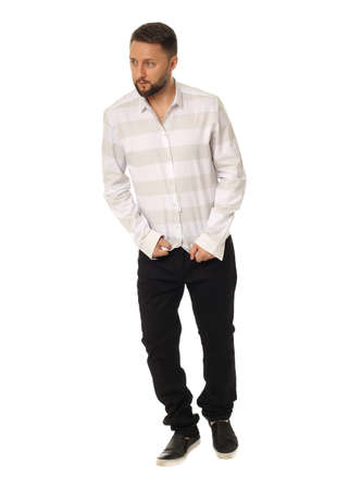Full length picture of casual young man Stock Photo