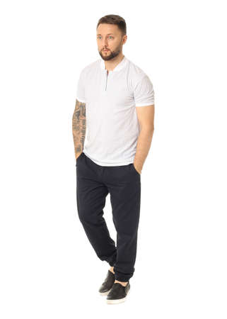 full length: Full length picture of casual young man Stock Photo