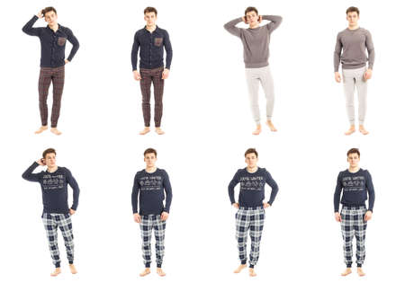 Man in pajamas concept isolated on white Stock Photo