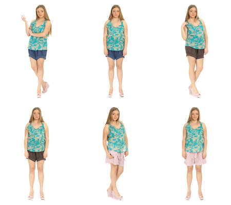Full length body image of  young crummy woman Stock Photo