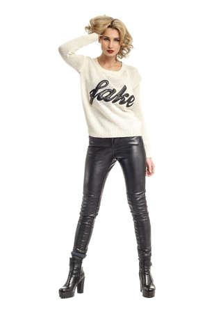 sweatshirt: Full length portrait of girl in elegant leggings Stock Photo