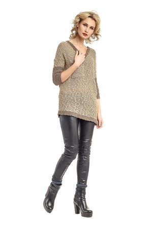 Full length portrait of girl in elegant leggings Stock Photo