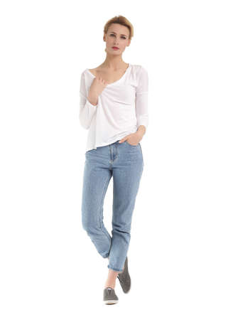 sleeve: Girl in rolled up boyfriend jeans and sleeve shirt Stock Photo