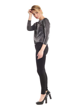 sleeve: Girl in skinny black jeans and glamour sleeve shirt