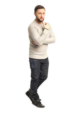 Handsome confident relaxed handsome young man with beard  Reklamní fotografie