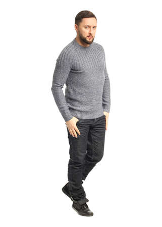 Handsome confident relaxed handsome young man with beard Stock Photo