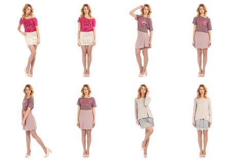 Model Tests, young slim women posing in skirt