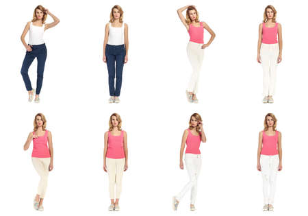 Collage of young women in casual concept