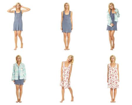 Beauty blonde woman in short nightdress collage