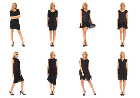 Female mode in dress collage isolated