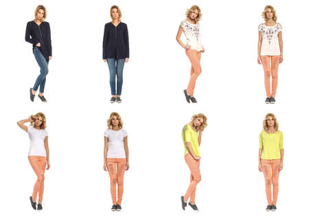Collage of fashionable young woman girl in jeans Stock Photo