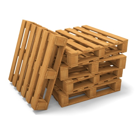 pallet: Stack of three wooden pallets. One pallet near. Isolated on white. Stock Photo