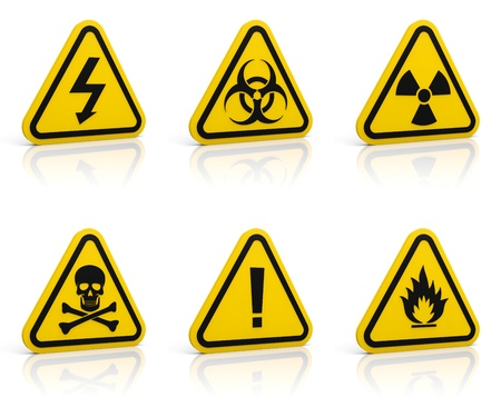 poison arrow: Set of yellow triangle warning signs. Isolated on white. Glossy floor. Stock Photo