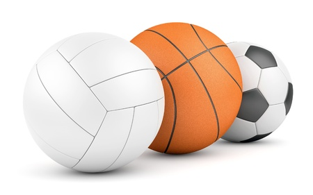 different goals: Team sport game concept. Volleyball, basketball and soccerball in row isolated on white.