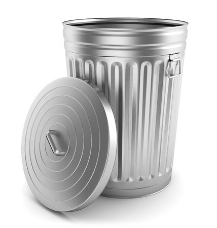 Open steel trash can isolated on white. Archivio Fotografico