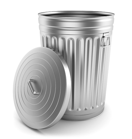 litter: Open steel trash can isolated on white. Stock Photo