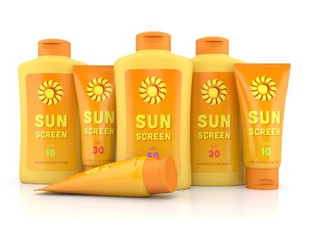 Flessen en tubes containers van zonnebrandcrème en lotion op een witte glanzende achtergrond. Zomer, zonnen en zonnecrème concept.