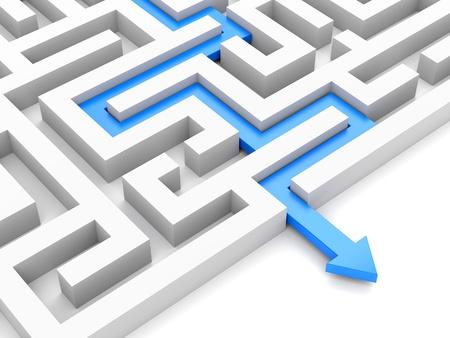 Blauwe pad met pijl over labyrint op wit wordt geïsoleerd