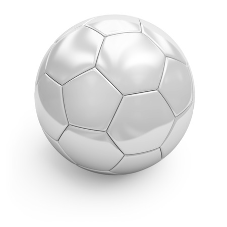 3d illustration of white soccerball. Isolated on white.