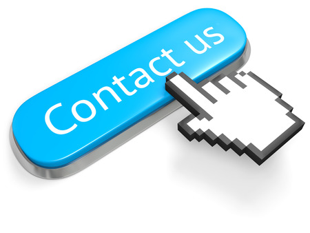 social actions: Blue button Contact us and hand cursor isolated on white Stock Photo