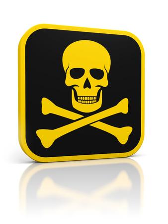 mortale: Piazza giallo icona pericolo mortale con teschio e ossa. Isolati su bianco. Archivio Fotografico