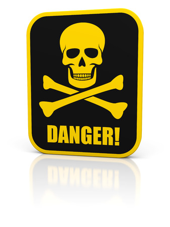 Square black deadly danger sign with skull and bones. Isolated on white. photo
