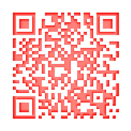 3d illustration of red QR code on white 1