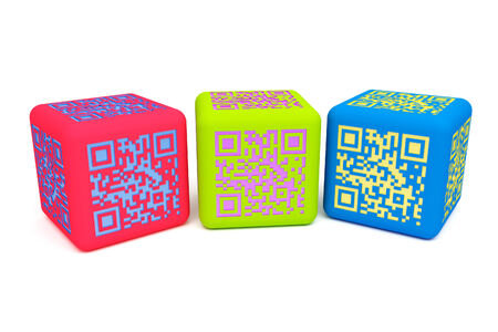 quick response code: Colorful cubes with QR code pattern on white 2