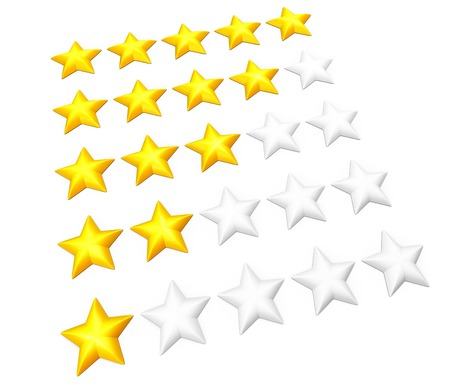 favorite colour: Set of rating stars in rows. From one to five. Isolated on white. Stock Photo