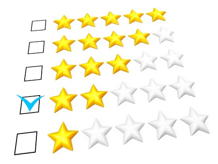 Rating concept. Two stars mark. Isolated on white. photo