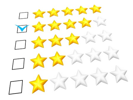 Rating concept. Four stars mark. Isolated on white. photo