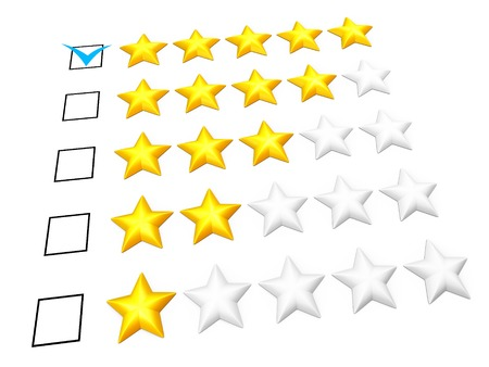 Rating concept. Five stars mark. Isolated on white. photo