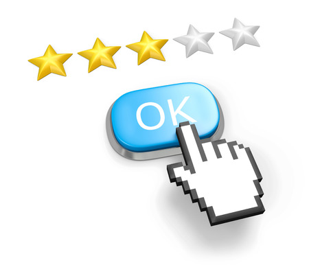 Voting concept. Rating three stars. Blue button OK, hand cursor. Isolated on white. photo