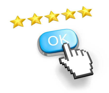 Voting concept. Rating five stars. Blue button OK, hand cursor. Isolated on white. photo