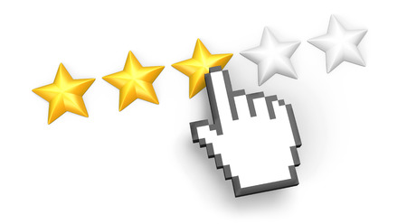 five fingers: Voting concept. Rating three stars. Hand cursor. Isolated on white.