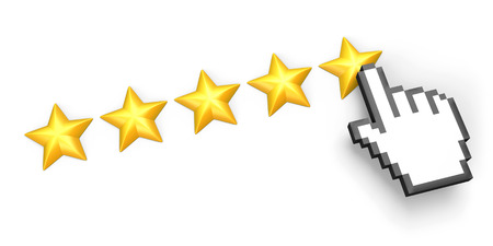 Voting concept. Rating five stars. Hand cursor. Isolated on white.