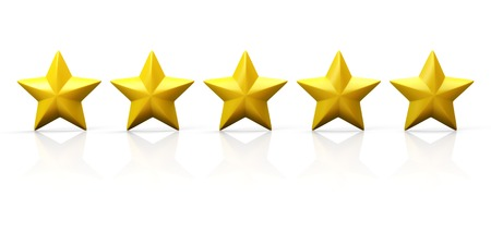 Row of five yellow stars on glossy plane. Isolated on white.