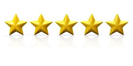 Reihe von fünf gelben Sternen auf Hochglanzebene. Isoliert auf weiß. Standard-Bild - 31240763