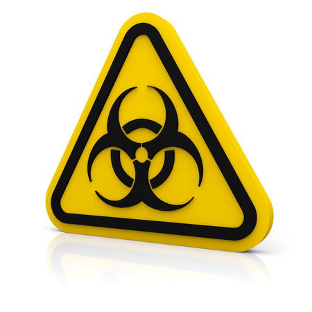 Yellow triangle sign with a biohazard symbol on white glossy plane photo