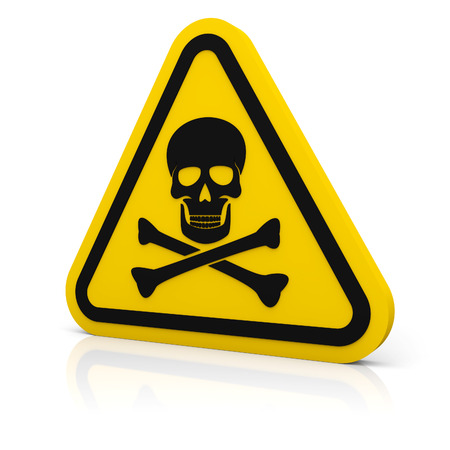 Yellow triangle rounded sign with skull symbol. Isolated on white. photo